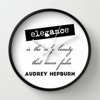 Elegance is the only beauty, Audrey Hepburn quote Wall Clock by art.style.designs