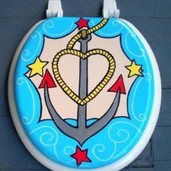 Ahoy Mate Hand Painted Toilet Seat by OmGurl by omgurl on Etsy