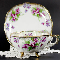 Napco Pearlized Vintage Teacup - Three Footed Opalescent Tea Cup and Saucer - Gorgeous Violets 12583