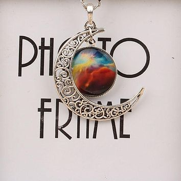 Antique Vintage Moon Time Necklace Sweater Chain Pendant Jewelry IB835