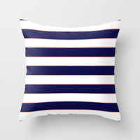 Double Stripes (Navy & Coral) Throw Pillow by daniellebourland | Society6