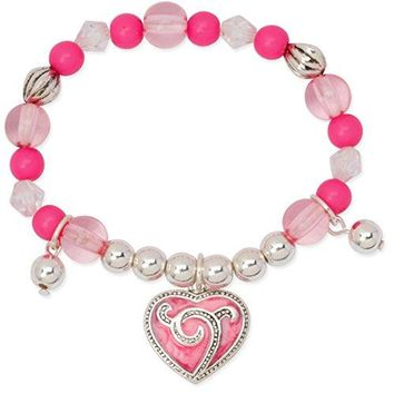 AUGUAU Girls Pink Enamel Heart Charm Silver Tone Beaded Stretch Bracelet