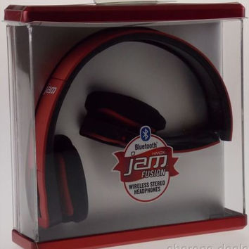HMDX Bluetooth Jam Fusion Wireless Foldable Stereo Headphones Red HX-HP610RD NEW