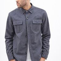 Pocket Shirt Jacket Heather Grey