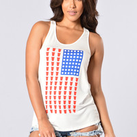 Red, White and Booze Tank - Ivory