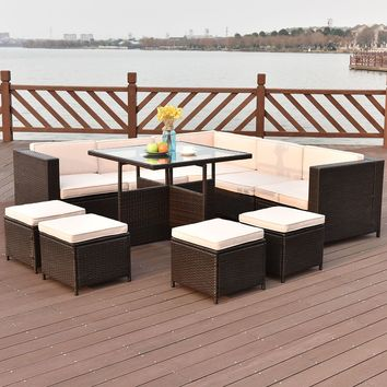 10 PCS Outdoor Rattan Wicker Furniture Set Sectional Cushioned Ottoman Sofa New
