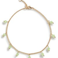 Junior Women's BP. Beaded Anklet - Gold/ Mint