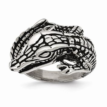 Men's Stainless Steel Antiqued Alligator Ring