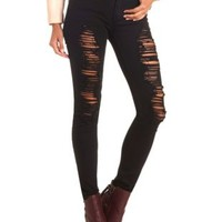 Destroyed Black Skinny Jeans by Charlotte Russe - Black