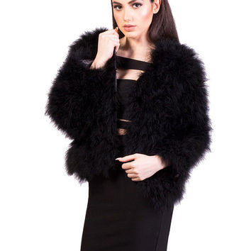 Black Fluffy Feather Jacket Marabou Winter Womens Clothing Outerwear Warm Coat Eveningwear