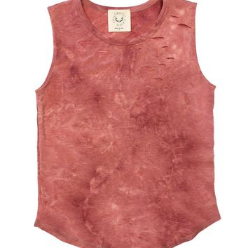 Fantastic Fawn Dusty Red Destroyed Tank Top