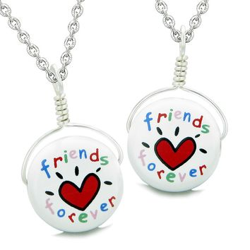 Love Couples or Best Friends Forever Set Cute Ceramic Lucky Charm Amulet Pendant Necklaces
