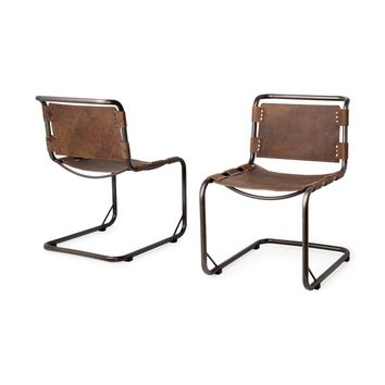 Berbick Dining Chair ~ Distressed Brown (Set of 2)