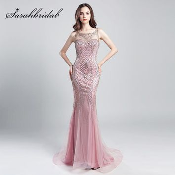 Vintage Blush Luxury Beading Mermaid Evening Dresses 2018 Long Illusion Tulle Rhinestone Women Maxi Prom Party Gowns OL029