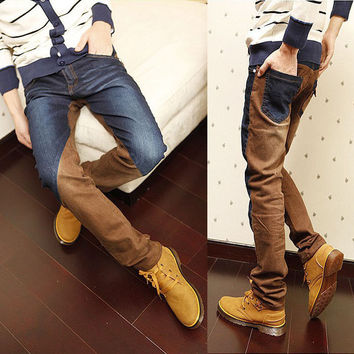 1 Men's Korean Trendy Slim Fit Vintage Tapered Jeans Colorant Match Vogue Pants