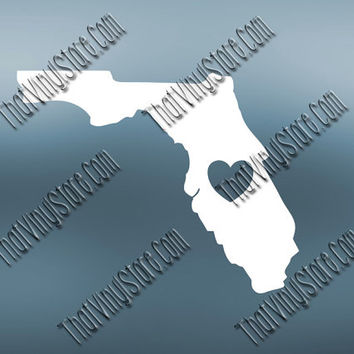 Florida Heart Home Decal | I Love Florida Decal | Homestate Decals | Love Sticker | Love Decal  | Car Decal | Car Stickers | 468