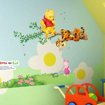Winnie the Pooh Friends Wall Stickers for Kids Rooms Nursery Room Decoration Cartoon Wall Sticker Removable PVC Wall Decals