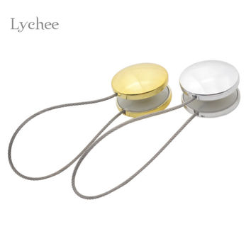 Lychee 1 Piece Gold Silver Magnetic Curtain Buckle Holder Tieback Round Curtains Holdback Window Curtain Accessories