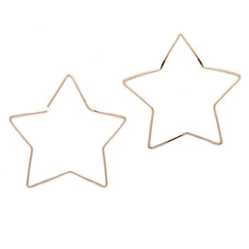 Large Gold Star Hoops