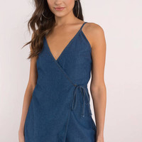 Izza Denim Surplice Romper
