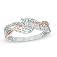 1/5 CT. T.W. Diamond Frame Promise Ring in Sterling Silver and 10K Rose Gold