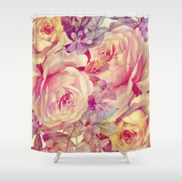 soft vintage roses Shower Curtain by clemm