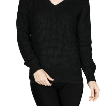 Long Sleeve V-Neck Cable Knit Sweater