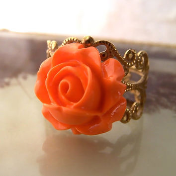 Orange Gold Ring, Copper Filigree Base, Resin Rose Cabochon Flower, Citrus, Bright Tangerine