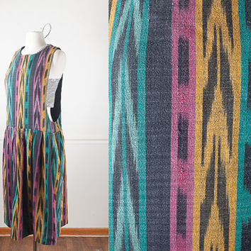 1990s Tribal Print Dress / Vintage 90s Soft Grunge Dress / 90s Grunge Maxi Dress / Bib Overall Dress / Pinafore Dress / Vintage 90s Jumper