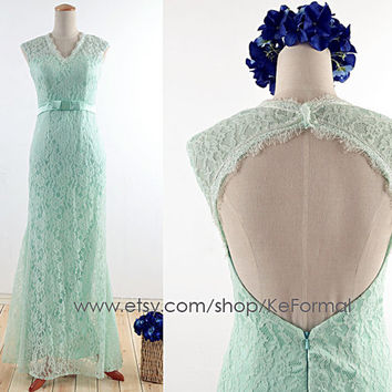 Mint V Neck Lace Prom Dress, Long Evening Dresses With Sash Open Back, Mermaid Lace Mint Formal Dress