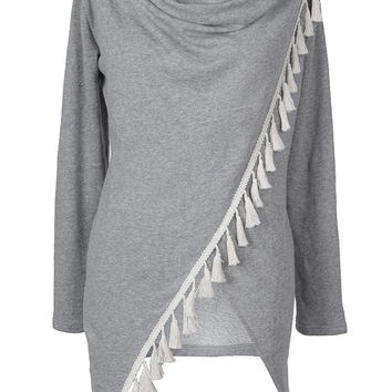 Cupshe Tons Of Tassels Grey Long Cardigan