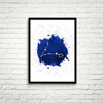 Pisces Constellation Watercolor splashes Print, Blue Constellation Wall Art, Navy Blue Night Sky, Pisces Constellation, Blue Print *8*