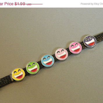Sale 30% Off Charms Laughing Face (LOL) Slide Charms Yellow Green Blue Pink Purple for Faux Leather Adjustable Wristbands and Dog Collars