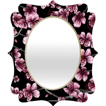 Belle13 Cherry Blossoms On Black Quatrefoil Mirror
