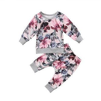 Newborn Baby Girls Clothes Coats T-shirt Tops+Floral Pants Outfits Set