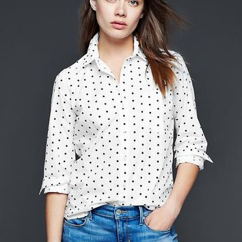 Fitted Boyfriend Polka Dot Shirt