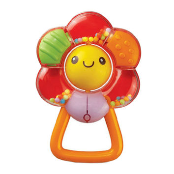 Baby Ratlle Toys Colorful Flower Ratlle Teething Ring Age for 3 Months 13*9CM