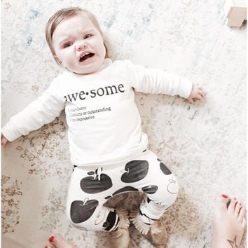 2016 new baby clothing baby boy clothes long sleeve t-shirt + pants 2pcs suit cotton  baby girl newborn clothing set