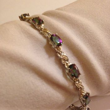 Vintage Handmade Genuine Blue Mystic Topaz Rhodium Finished 925 Sterling Silver Tennis Bracelet