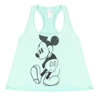 Disney Mickey Mouse Black And White Graphic Printed Junior's Light Blue Tank Top
