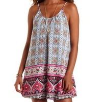 Lt Blue Combo Boho Print Bubble Hem Shift Dress by Charlotte Russe