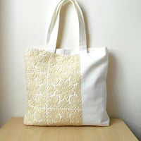 Beige lace tote bag, summer tote bag, lace shoulder bag, canvas tote bag