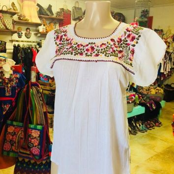 Mexican Tehuacan Embroidered Blouse White Small