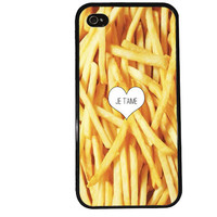French Fry iPhone Case / Je t'aime Quote iPhone 4 Case Food iPhone 5 Case iPhone 4S Case iPhone 5S Case Yellow Paris Cute Phone Case