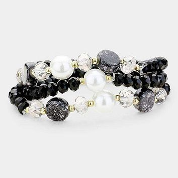 3Pcs Multi Strand Pearl Natural Stone Bead Stretch Bracelets