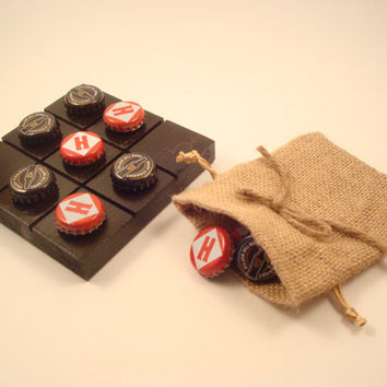 Handcrafted Guinness Draught And Harpoon Beer Tic Tac Toe Game - Beach House Decor, Father's Day, Or Groomsman Gift