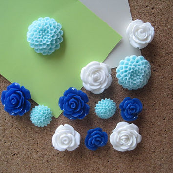 Decorative Thumbtacks, Flower Pushpins, 12 pcs Blue, White, Aqua Tacks, Bulletin Board Thumbtacks, Wedding Decor, Housewarming Gift