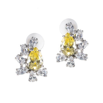 Canary Yellow Pear Clip Earring