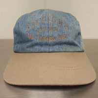Vintage 90's Stelling The Ultimate Banjo Denim Leather Strapback Dad Hat Musical Instrument Made In USA