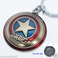 New Marvel The Avengers Captain America Shield Metal Keyring Keychain